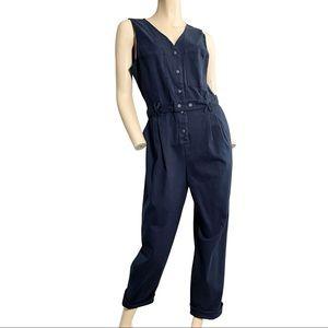 Skies are Blue Navy blu sleeveless work jumpsuit L